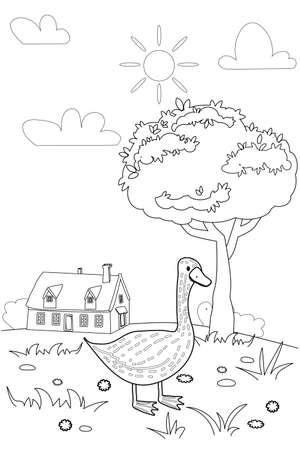 Cute goose farm animals coloring book educational illustration for children. Rural landscape colouring page. Vector black white outline cartoon character
