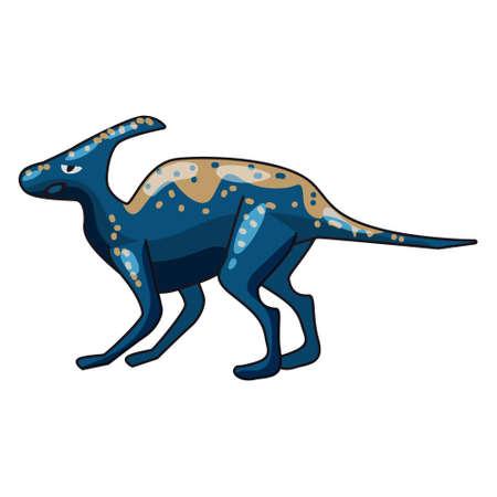 Funny prehistoric Hadrosaurs dinosaurus. Ancient wild monsters reptiles cartoon style. Vector isolated 向量圖像