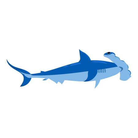 Shark underawater predator animal character, scary jaws fish aquatic creature. Vector illustration cartoon