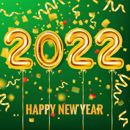 2022 Happy New Year Gold balloons. Gold foil numerals with confetti, ribbons, poster, banner. Vector realistic 3D illustration