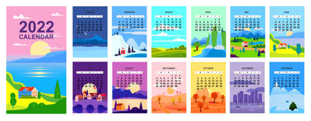 2022 Calendar landscape natural backgrounds of four seasons. Winter wonderland, Fresh on Spring, Hot sunny day on Summer, Autumn with leaves falling. Set minimalistic cartoon flat design seasons background isolated