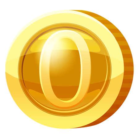 Gold Medal Coin Number 0 symbol. Golden token for games, user interface asset element. Vector illustration