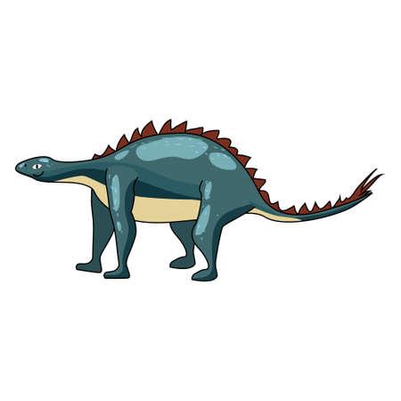 Funny prehistoric Stegosaurus dinosaurus. Ancient wild monsters reptiles cartoon style. Vector isolated