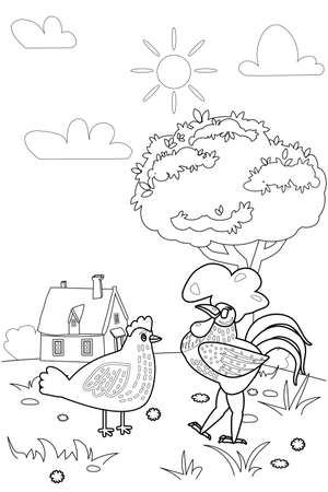 Cute rooster and chicken farm animals coloring book educational illustration for children, rural landscape colouring page. Vector black white outline cartoon characters