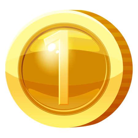 Gold Medal Coin Number 1 symbol. Golden token for games, user interface asset element. Vector illustration 向量圖像