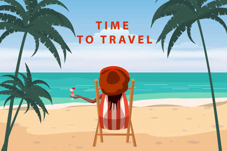 Time To Travel Woman lying on deck chair with cocktail in hand, resort tropical coast. Exotic sea ocean shore sand, palms. Vector illustration retro vintage poster 向量圖像