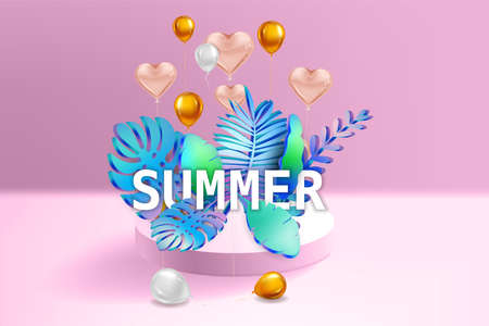 3D Tropical leaves scene podium with text Summer, balloons gold and white, botanical background. Render vector foliag,e pedestal, stage illustration template 向量圖像