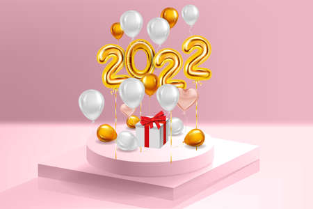 Happy New Year 2022 Gold balloons, stage podium, gift box. Golden foil numerals, balloons with, confetti, ribbons, poster, banner. Vector realistic 3D illustration 向量圖像