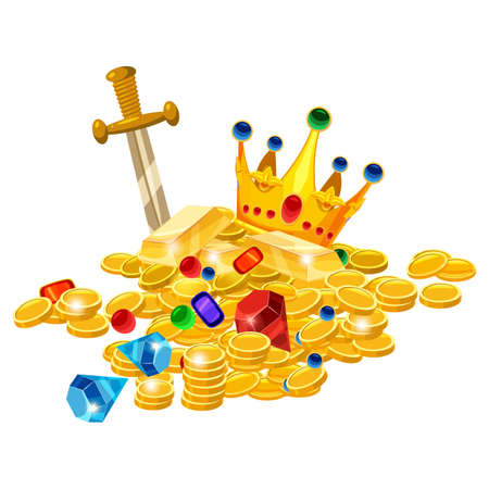 Set of treasure gold coins, crown, gems, sword, jevels, diamonds. Ancient fantasy pile gold luxury. Vector cartoon style for games apps illustration 向量圖像