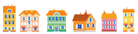 Set houses cottage home front view, colorful real estate. Cartoon urban buildings, vector illustration