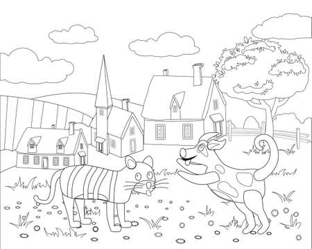Farm animals coloring book educational illustration for children. Cute cat and dog, rural landscape colouring page. Vector black white outline cartoon characters 向量圖像