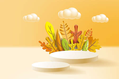 Autumn leaves 3D yellow, red, brown, orange colors. Fall bouquet, pedestal, stage, for background product presentation. Minimal 3d render plasticine, vector illustration banner, poster