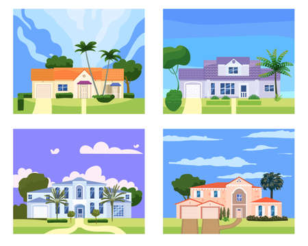 Collection Residential Home Buildings in landscape tropic trees, palms. House exterior facades front view architecture family cottages houses or mansions apartments, villa. Suburban property