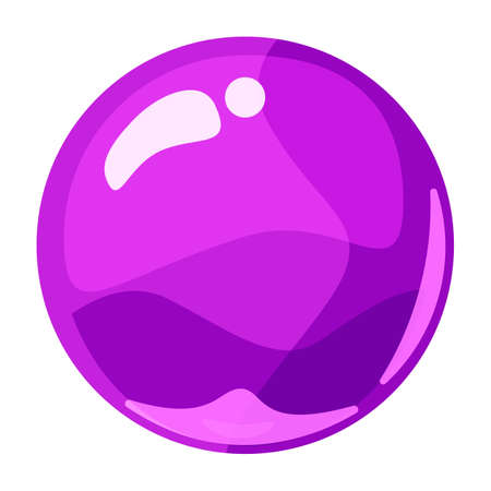 Ball purple shiny glossy colorful game art. Magic crystal glass sphere, bubble shot elements. Cartoon vector GUI app