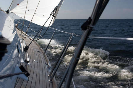 beaty: yacht running throught the baltic sea at speed 9 knots. Stock Photo