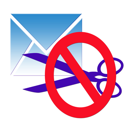 confidentiality: The confidentiality of correspondence, a blue envelope with a letter and open the scissors Stock Photo