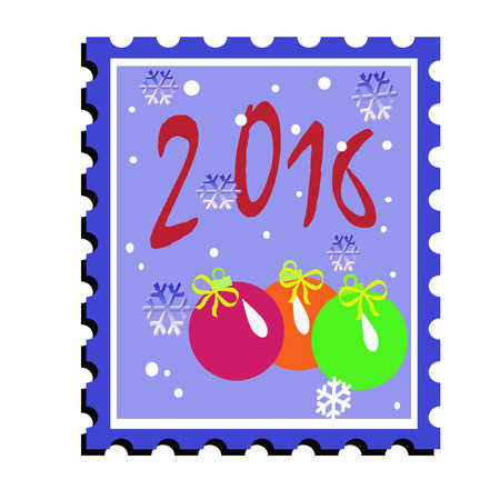 coloured: coloured postal Christmas stamp with bright toys
