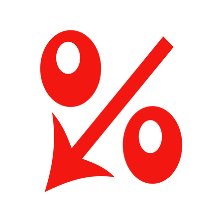 Red icon percent down on a white background Stock Photo