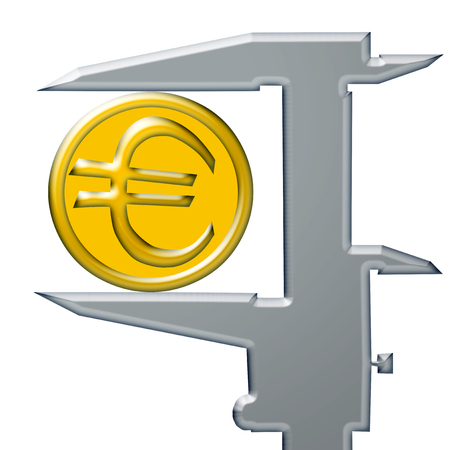 decreasing in size: Yellow Euro coin and steel caliber.