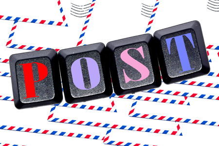 unsolicited: The word post on your keyboard keys. Stock Photo