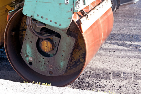 compacted: Rink compacted asphalt on the road. Stock Photo