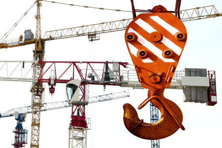 lift lock: The hook of the elevating crane on a background of construction