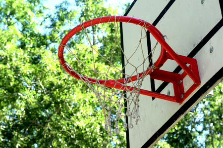 backboard: The basketball backboard and ring Stock Photo