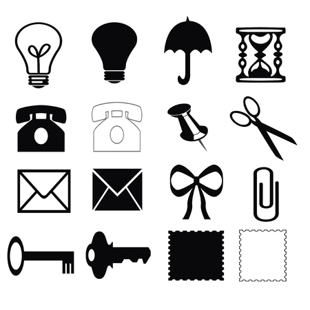 make a call: Silhouettes of different objects on a white background