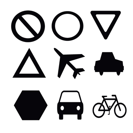 banned: Silhouettes of road signs on a white background