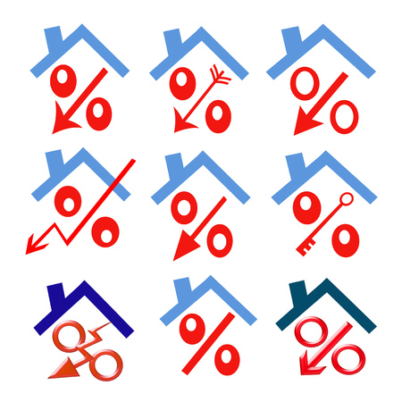 mortgage rates: Red percent under the roof (down arrow) Stock Photo