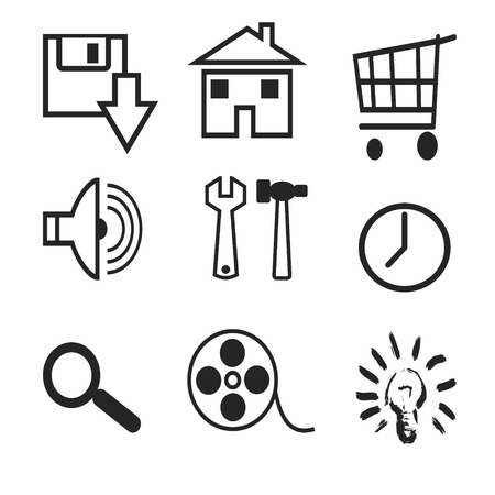 response time: Silhouettes of various web icons on a white background Illustration
