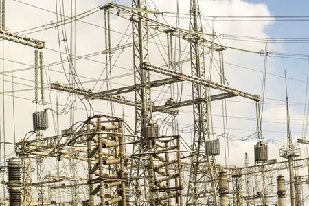 source of iron: High voltage power plant on sky background