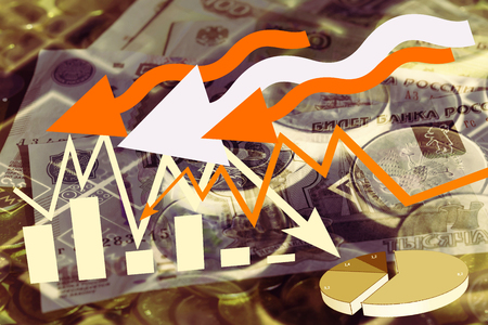 monies: Colour illustration of business and financial charts and graphs
