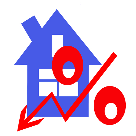 Red percent sign on the background of houses. The concept of price changes on the real estate market.