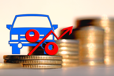 reimbursement: Passenger car and red percent sign on a background of money. The concept of change of car prices
