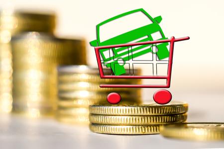 remuneraciÓn: Coche y carro de compras en el fondo de dinero. El concepto de préstamo del Banco. Foto de archivo