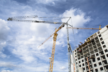 Panorama of construction at the background of sky