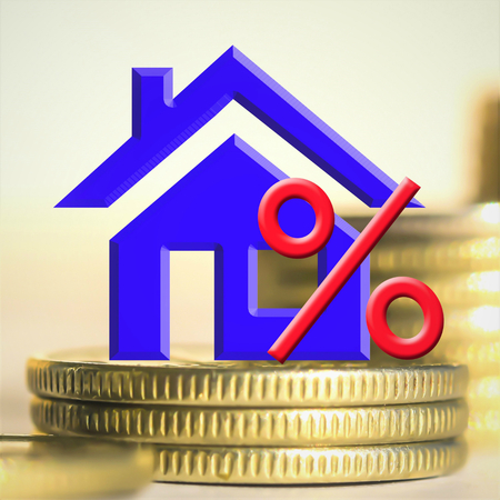 The percent symbol on the background of real estate and money. The concept of mortgage lending.