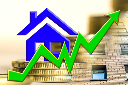 The graph of growth and a symbol of real estate on a background of money. The concept of changes in property prices.