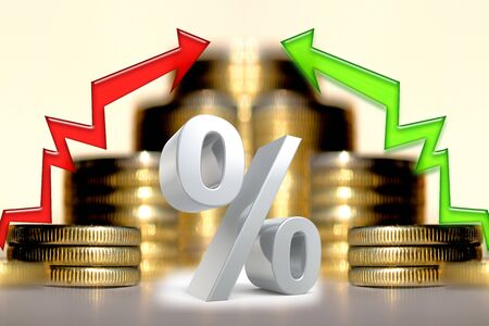 Arrows and percentage symbol on the background of money. The concept of changing financial stability.