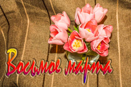 Holiday greeting card for March 8. Tulips on a dark background. Imagens