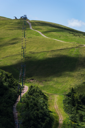 chair on the lift: Landscape with chair lift of montecampione