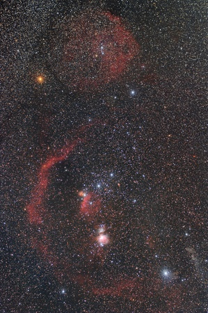 Orion in night starry sky photo