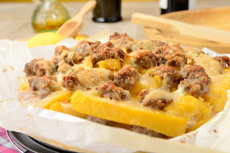 botched: Polenta with sausage botched Stock Photo