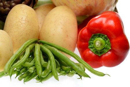 mixed vegetables isolated on white background photo