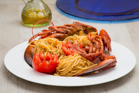 spaghetti with lobster American photo