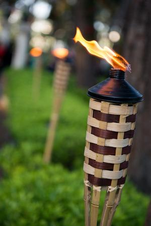 bamboo garden torches Archivio Fotografico