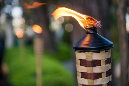 bamboo garden torches Stock Photo