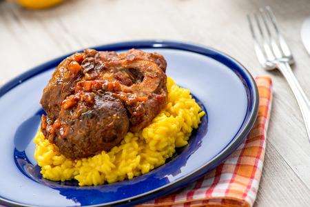 Italian yellow risotto with ossobuco