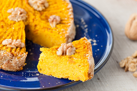 pumpkin pie with nuts photo